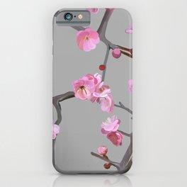 Plum blossom pattern grey iPhone Case