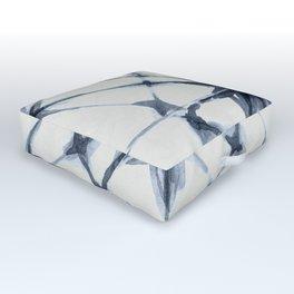 Shibori Starburst Indigo Blue on Lunar Gray Outdoor Floor Cushion