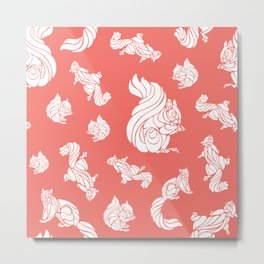 White Swirl Squirrels on Coral Color Metal Print