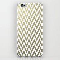 gold foil iPhone & iPod Skins featuring Gold Foil Chevron by Zen and Chic