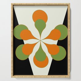 Mid-Century Modern Art 1.4 - Green & Orange Flower Serving Tray