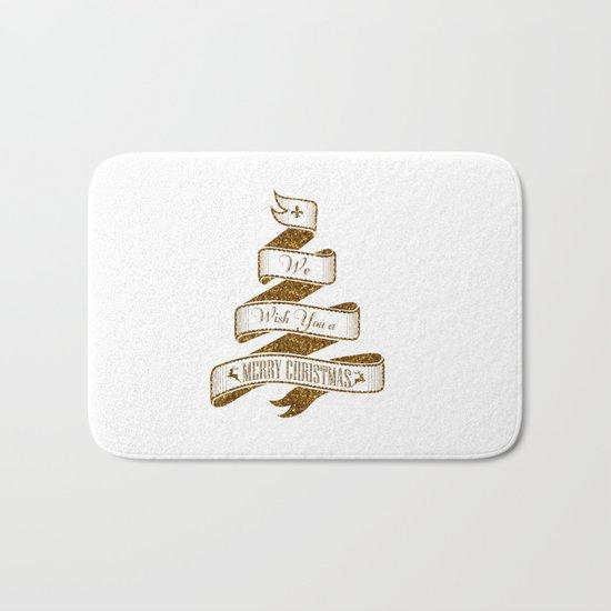 Merry Christmas- Glitter Gold Xmas Typography Bath Mat