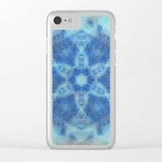 Wispy fairy kaleidoscope in blue Clear iPhone Case