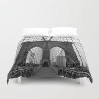 brooklyn bridge Duvet Covers featuring Brooklyn Bridge by C.Rhodes Design