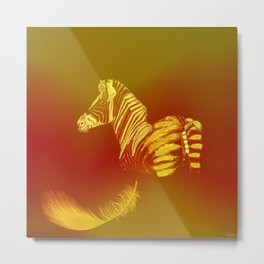 The zebra who loses these feathers Metal Print