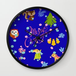 Marry Christmas Patter blue Wall Clock