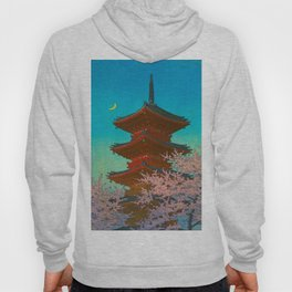 Vintage Japanese Woodblock Print Pastel Colors Blue pink Teal Shinto Shrine Cherry Blossom Tree Hoody