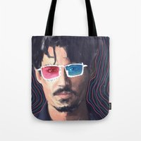 johnny depp Tote Bags featuring Johnny Depp by Pazu Cheng