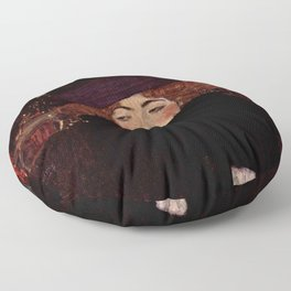 """Gustav Klimt """"Lady with Hat and Feather Boa"""" Floor Pillow"""