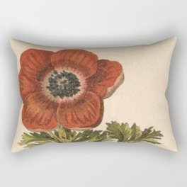 1800s Encyclopedia Lithograph of Anemone Flower Rectangular Pillow