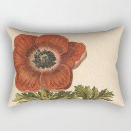 1800s Encyclopedia Lithograph of Anemone Flower Rectangular Pillow