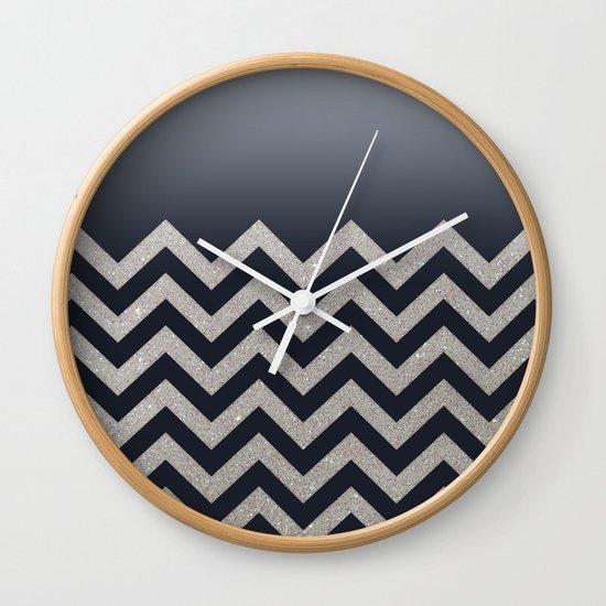 BLACK FADING SILVER CHEVRON Wall Clock
