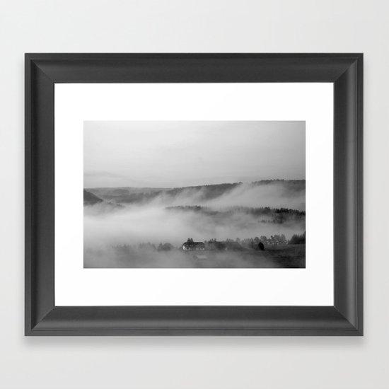 Landscape with fog Framed Art Print