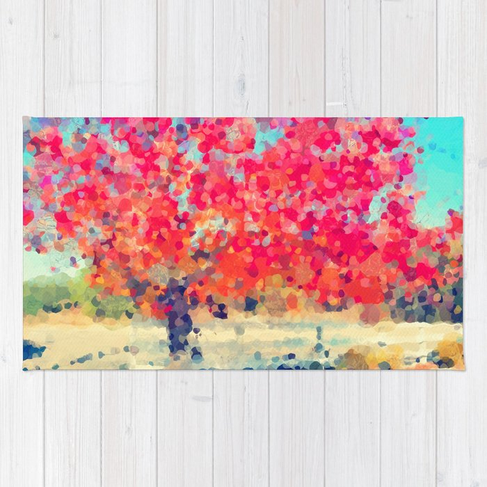 Orange Tree Watercolor  Rug