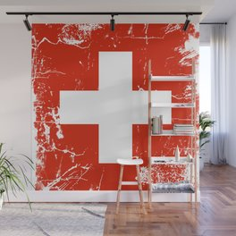 Switzerland flag with grunge effect Wall Mural