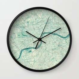 London Map Blue Vintage Wall Clock