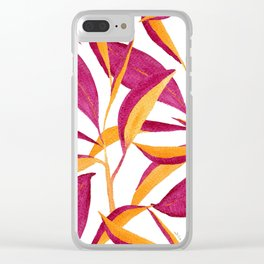 Ruby and golden leaf pattern in watercolor Clear iPhone Case
