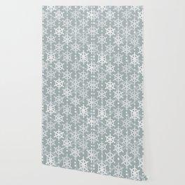 Mid Century Modern Snowflakes Silver Wallpaper