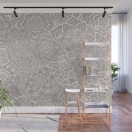 Delicate Lace Mandala Pattern (Grey/Cream) Wall Mural