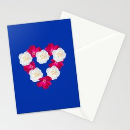 Rose Heart Electric Blue Stationery Cards