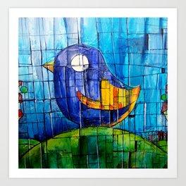 Pollito azul Art Print