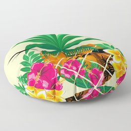 Pineapple Tropical Sunset, Palm Tree and Flowers Floor Pillow