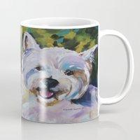 westie Mugs featuring Westie Impressionism Pet Portrait Larsen 1 by Karren Garces Pet Art