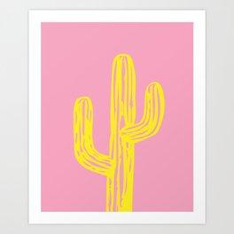 Pink and Yellow Cactus Art Print