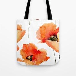 Modern hand painted orange watercolor poppies pattern Tote Bag