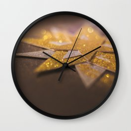 Gold and silver sparkly star design Wall Clock