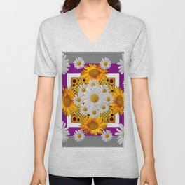 GREY & WHITE DAISIES FLORAL ABSTRACT & YELLOW SUNFLOWERS Unisex V-Neck