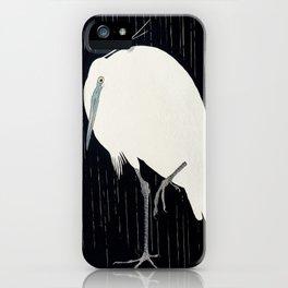 Egret standing in rain - Japanese vintage woodblock print iPhone Case
