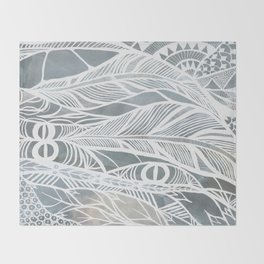 Muted Grey Feathers Throw Blanket