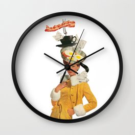 bacon and eggs couture Wall Clock