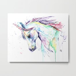 Colorful Unicorn Watercolor Painting - Kenzie's Unicorn Metal Print