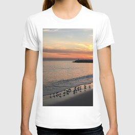 Beach sunset with birds T-shirt