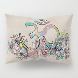 OM symbol  composition vintage scrapbook style with flowers Pillow Sham
