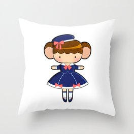 Sailor Lolita Monkey Throw Pillow
