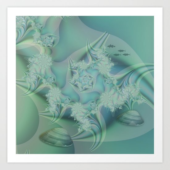 Fantasy ocean with shells and fish Art Print