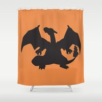 charizard Shower Curtains featuring Charizard Silhouette by Jessica Wray