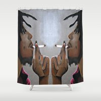 marley Shower Curtains featuring Marley Portrait by Samaa Ahmed