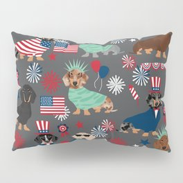Dachshund july 4th patriotic dog breed pattern doxie dachsie lovers america Pillow Sham