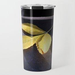 Yellow Leaf on Leather Surface Travel Mug