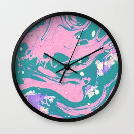 Pink And Green Marble Pattern Wall Clock