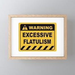 Human Warning Label EXCESSIVE FLATULISM Sayings Sarcasm Humor Quotes Framed Mini Art Print