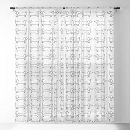 Dachshund in black-white Sheer Curtain