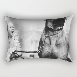 The Happiness of Little Girls and Great Danes black and white photograph Rectangular Pillow