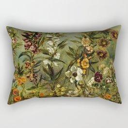 """Eugène Delacroix """" Étude d'asters et balsamine"""" Rectangular Pillow"""