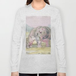 Colorful Mom and Baby Hippo Long Sleeve T-shirt