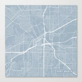 Fort Worth Map, USA - Slate Canvas Print